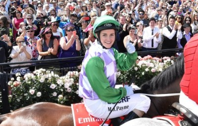 Michelle Payne on Prince of Penzance.Melbourn Cup winner 2015